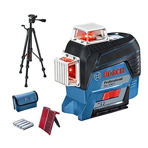 Bosch Professional Linienlaser GLL 3-80 C (m. App-Funktion, Stativ, Arbeitsbereich: bis zu 30m, 4 Batterien, AA, im Karton)