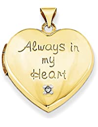 ICE CARATS 14k Yellow Gold 21mm Heart Diamond Photo Pendant Charm Locket Necklace That Holds Pictures Inside Fine Jewelry Gift Set For Women Heart