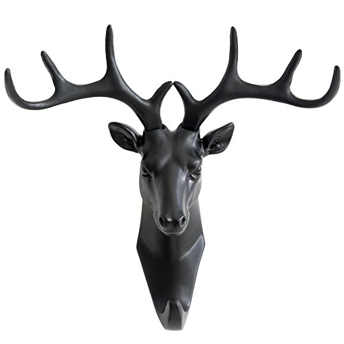 herngee-deer-head-single-wall-hook-hanger-animal-style-hooks-wall-decorations-black-color