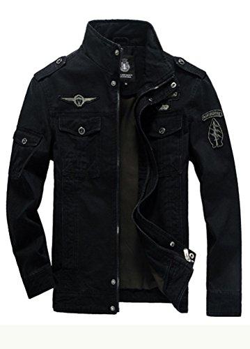 MatchLife Homme Nouveau Militaire Style Automne Veste Manteau Noir S