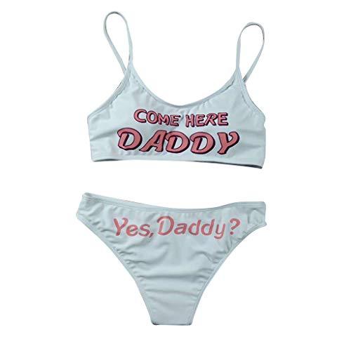 IZHH Damen Brief Print Bikini, Mode Push-Up Pad Bademode Strandanzug Bade Split Englisch Alphabet Beachwear Set(Weiß,XL)