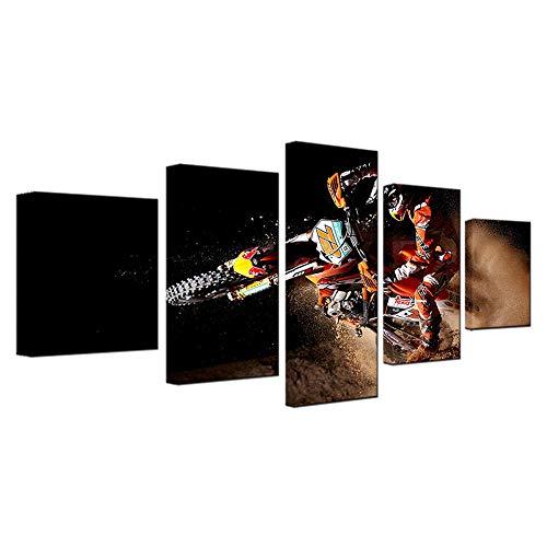 Poster su tela Wall Art Home Decor 5 pezzi Dipinti moto per soggiorno Stampe HD X Gioco Sport Motore Immagini-Con co