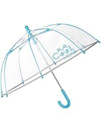 PERLETTI 15532 - Paraguas Transparente unisex, Paraguas de Burbuja, 64 cm de diámetro, Azul