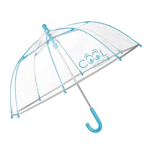 Kinder Schirm Mädchen & Jungen - Stockschirm mit Reflektierenden Details - Robuster und Windfester Regenschirm - Transparente Kuppel - 3 bis 6 Jahre - Durchmesser 64 cm - Perletti Cool Kids - Hellblau