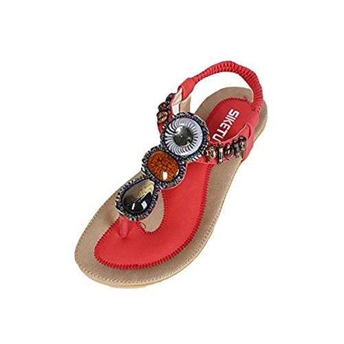 Sandalias Mujer Verano,Moda de las mujeres dulces abalorios clip Toe pisos bohemio sandalias de espiga LMMVP (39, Rojo)