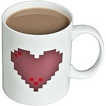 VENKON - Taza Sensible al Calor Taza con Efecto Animado Efecto Térmico / Efecto de Calor - Corazón Pixelado, Corazones pixelados - para Café Té Cacao Leche etc. 0,3 L