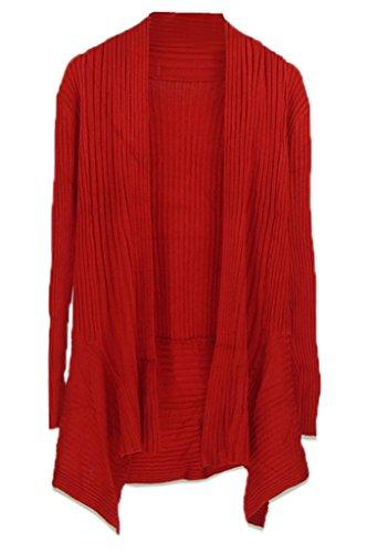 Smile YKK Femme Cardigan Tricot Manteau Cape Pull Blouson Uni Pour Printemps Automne Rouge