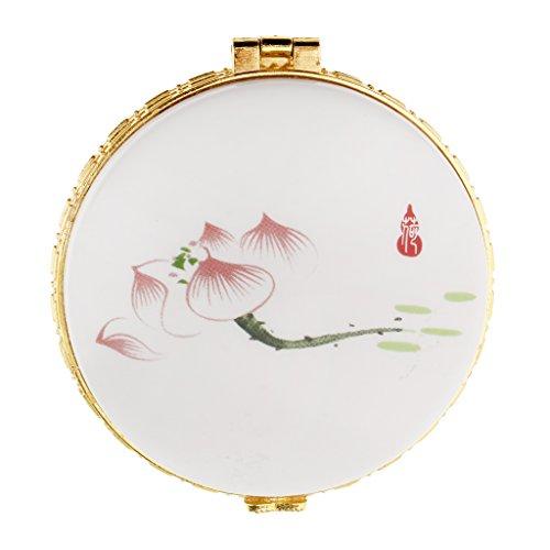 Fenteer Puderdose Foundation Container Kosmetikdose mit Chinesische Traditionelle Schönheit Muster - Roter Lotus -