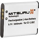 Mitsuru® batterie de remplacement pour Olympus D-Li92 Ricoh X70 CX3 compatible avec Olympus mju Tough 9010 SP-610UZ D-755 D-760 Smart D-750 SP-720UZ SP-800UZ SP-810UZ SZ-10 SZ-11 SZ-12 SZ-14 SZ-20 SZ-30 SZ-30MR SZ-31 SZ-31MR TG-610 TG-620 TG-810 TG-820 VG-170 VR-340 VR-350 VR-360 XZ-1 6000 6010 6020 8000 8010 9000 Pentax Optio I-10