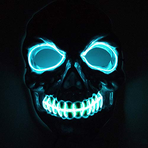 (Queta Halloween Horror Leuchtende Maske EL Mask Cosplay Maske für Halloween Christmas Party Kostüm Mask Purge Horror Mask (Blau))