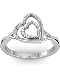 Omsai Dubble Heart Diamond Ring For Girls And Women