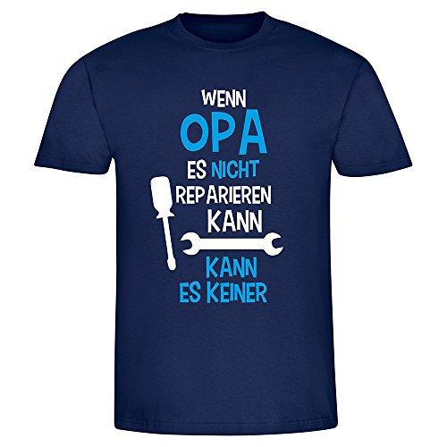 """T-Shirt """"Wenn Opa es nicht reparieren kann..."""", Fun-Shirt, Herren, Männer, mit Spruch, Weihnachtsgeschenk, Geburtstagsgeschenk (XL, navyblau)"""