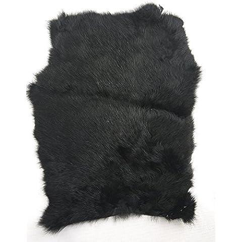 Magic Show auténtica piel de piel de conejo color natural para manualidades de curtido to172(Negro)