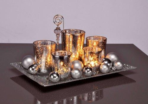 Teelichthalter Weihnachten Windlicht Antik Optik Weihnachtskugeln Dekoration
