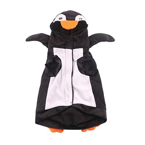 Fansu Halloween Kostüm Hund Haustier Hund Katze Halloween Kostüme, Einstellbare Warme Kleidung Netter mit Kapuze Pullover Hundepullover Party Cosplay Dekoration (S,Pinguin)