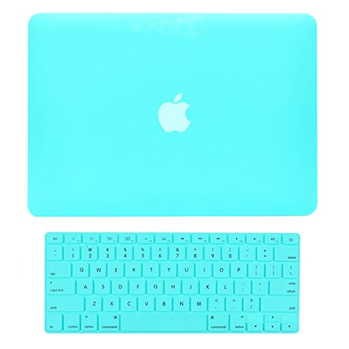 Top-Case - 2 in 1 Bundle Deal MacBook Hard Case Cover + Tastatur Cover für MacBook mit Topcase Maus Pad Hot Blue/Turquoise Old Macbook Pro 13