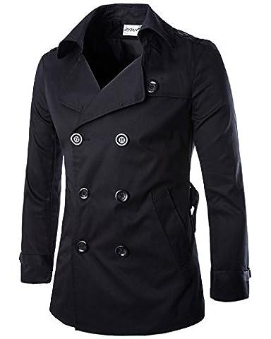 Hommes Trench-Coat Veste Double Boutonnage Manches Longues Manteau Jacket Noir M