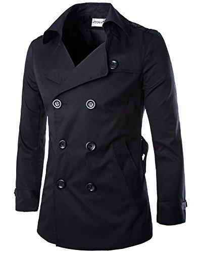 Cappotto Uomo Trench Giacche Invernali Manica Lunga Doppiopetto Outwear Soprabito Nero L