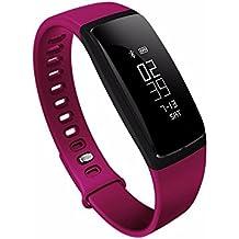 RIVERSONG®Fitness Tracker Heart Rate Monitor di pressione sanguigna Bracciale sedentario Ricordando sonno Alarm Management SNS (Viola Bluetooth)