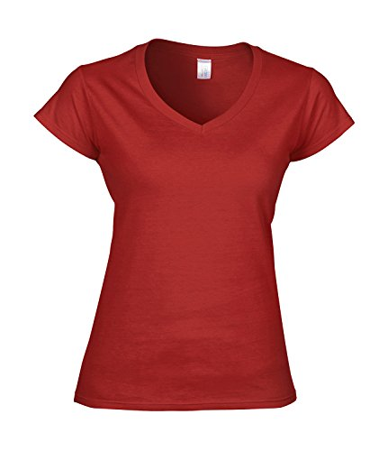 Fashionable Ladies V-Neck Jersey T-Shirt red XXL -