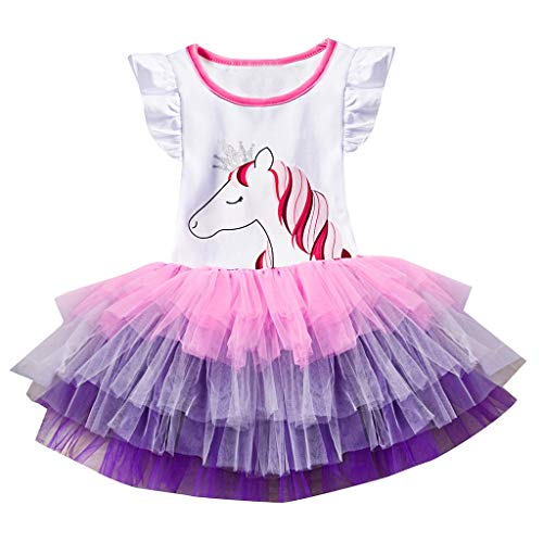 ღ Abiti Bambina Estivi 2018 UOMOGO® Abiti Bambini Estate Maniche Corta Floreale Vestito 1-6 Anni Abbigliamento sportivo