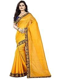 Aaradhya Fashion Saree For Women Bhagalpuri Silk soft Plain Saree with Blouse and shinning Printed Border for Girls matka 1 women