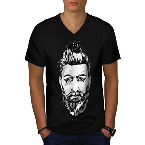 Bart Kerl Stilvoll Mode Herren M V-Ausschnitt T-shirt | Wellcoda