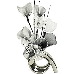 Flourish Diseño de flores de Mini 792725 32 cm jarrón con diseño de espiral hanega Artificial, negro/blanco