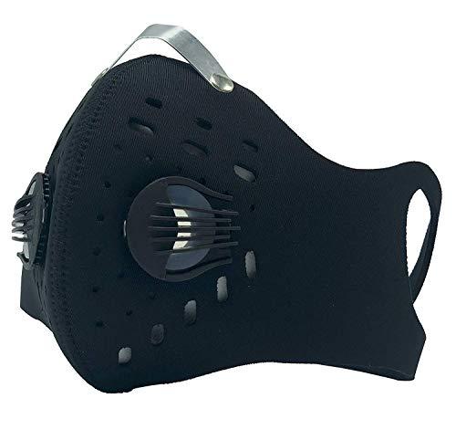 kyuké Maske gegen Verschmutzungen, schützt vor Staub, Bakterien, ideal für Fahrrad Radfahren Motorrad + 3 Aktivkohlefilter, Schwarz -