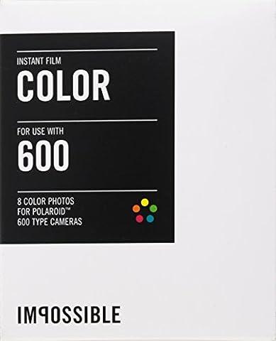 Impossible - 2785 - pellicule couleur pour Appareil Polaroid type P600 - cadre blanc - 8 feuilles par boîte