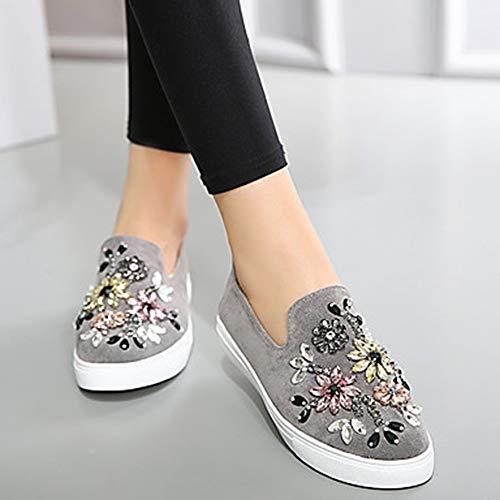 Ttshoes per donna scarpe velluto primavera estate comoda sneakers piatto punta tonda con diamantini/brillantini nero/grigio / cachi,gray,us7.5/eu38/uk5.5/cn38