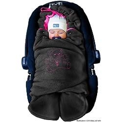 ByBoom® - Manta arrullo de invierno para bebé, es ideal para sillas de coche (p.ej. de las marcas Maxi-Cosi y Römer), para cochecitos de bebé, sillas de paseo o cunas; LA MANTA ARRULLO ORIGINAL CON EL OSO, Color:Antracita/Fucsia