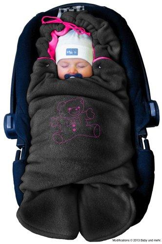 ByBUM - Baby Winter-Einschlagdecke 'Das Original mit dem Bären', Universal für Babyschale, Autositz, z.B. für Maxi-Cosi, Römer, für Kinderwagen, Buggy oder Babybett, Farbe:Anthrazit/Fuchsia