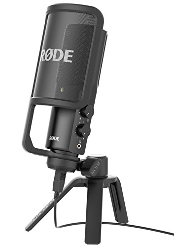 Rode NT-USB Microfono a Condensatore con Filtro Anti-pop e Supporto da Tavolo, Compatibile con iPad, Nero/Antracite