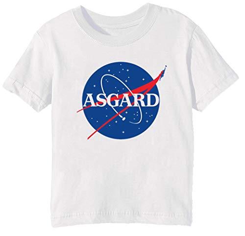 Asgard NASA Niños Unisexo Niño Niña Camiseta Cuello Redondo Blanco Manga Corta...