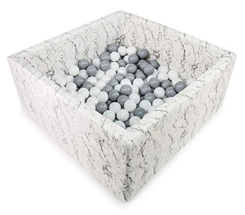 Tweepsy 90X40cm/250 Balles ∅ 7Cm Piscine À Balles pour Bébé Fabriqué en UE - KWMA, Marbre - Beige Piscine: Turquoise, Blanc, Gris