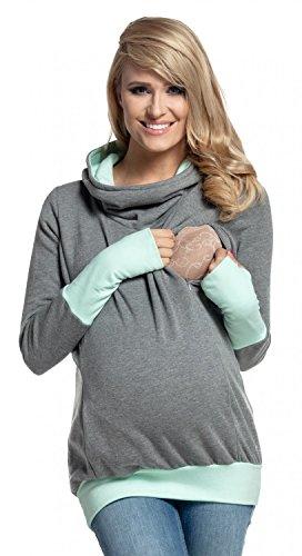Happy Mama. Para Mujer Sudadera Capucha Panel de la Lactancia Top Premamá. 330p (Gris & Menta, EU 36/38, M)