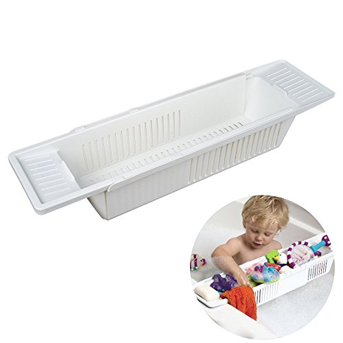 Henweit White Bathtub Rack Bath Shower Caddy Shampoo Soap Toy Holder Bathroom Shelves Plastic
