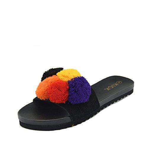 Kick footwear sandali piatti da donna, comodi e morbidi, pelosi, pom pom, fiocco di raso, morbidi - 35 eu, nero pom pom