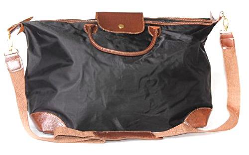Chic Farbe Block Weekend Travel Bags mit Kontrast Rand, Schwarz (Kontrast-rand)