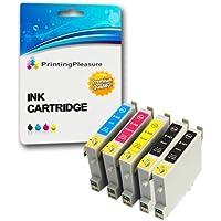 5 XL Compatibili Epson T0441-T0444 (T0445) Cartucce d'inchiostro per Stylus C64 C66 C68 C84 C84N C84WN C86 CX3600 CX3650 CX4600 CX6400 CX6600 - Nero/Ciano/Magenta/Giallo, Alta Capacità