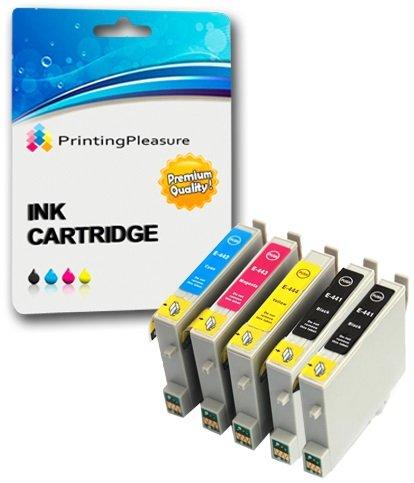 5 Druckerpatronen für Epson Stylus C64, C66, C66 Photo Edition, C68, C84, C84N, C84WN, C86, CX3600, CX3650, CX4600, CX6400, CX6600   kompatibel zu Epson T0441, T0442, T0443, T0444 (T0445) -