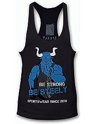 """SteelySports - Camiseta de tirantes para hombre, diseño con texto """"be strong be steely"""", color negro, todo el año, Unisex, color negro - Schwaz, tamaño S"""