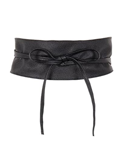 14987-BLK-OS: Soft PU Faux Leather Self Tie Wrap Around Obi Waist Band Cinch Boho Belt