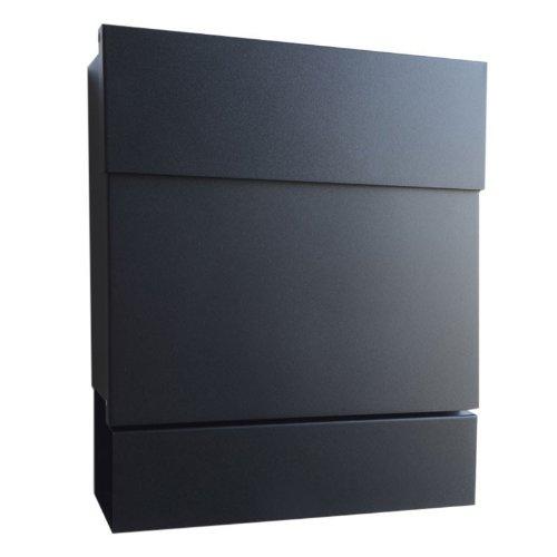 Radius Design Briefkasten Letterman 5 schwarz (RAL 9005) mit Zeitungsfach und verdecktem Schloss,...