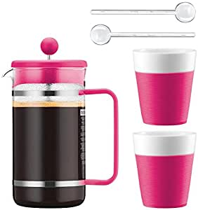 BODUM Set Bistro rose Cafetiere a piston 1L + 2 tasses en porcelaine bande silicone 30 cl + 2 cuilleres agitateur