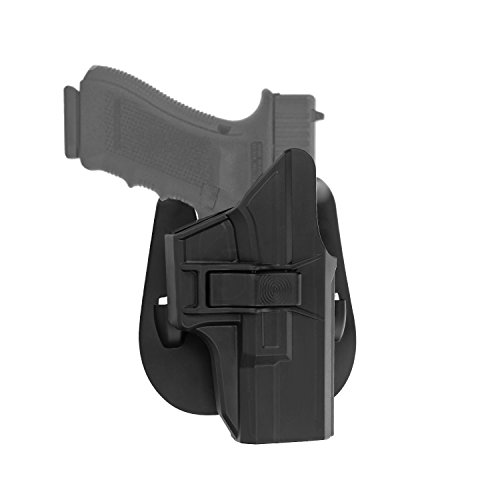 efluky Glock Paddelholster Fit Glock 17 19 19X 22 23 26 27 31 32 33 34 (Gen1-4), OWB Carry RH, Polymer Trigger Release Einstellbare Cant -