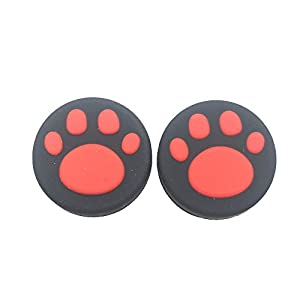 2 Silikon Analog Controller Daumen Stick Griff Gap für Nintendo Schalter NS Controller Joy-Con Thumbstick (2 Pcs Red Cute Cat Paw Claw)