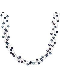 Valero Pearls Classic Collection Damen-Kette Hochwertige Süßwasser-Zuchtperlen in ca.  6 mm Oval blau 925 Sterling Silber    43 cm   400370