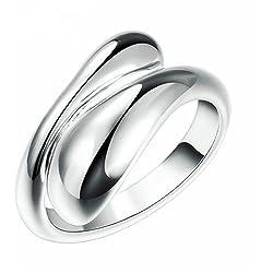 Ecloud Shop Plata 925 anillo plateado mujeres de moda Doble Ronda Jefe Abrir